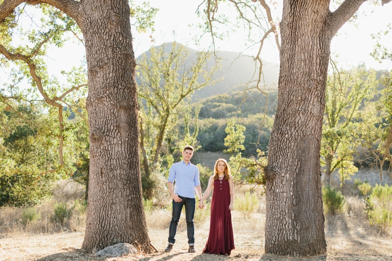 The couple standing between two large trees.