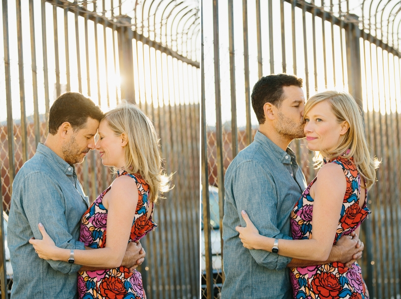 Sweet photos of the couple outside of a chainlink fence.