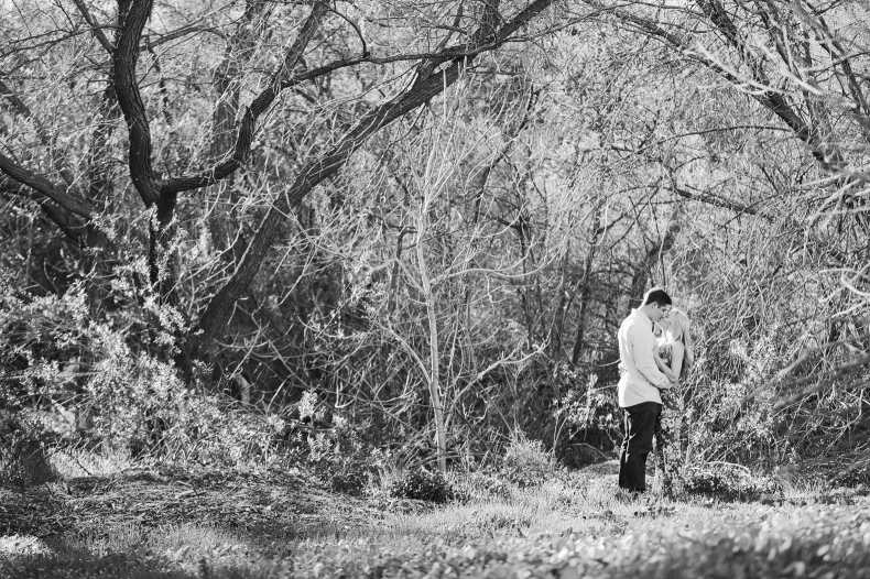 A cool black and white photo of Britt and Steve at Old Agoura Park.