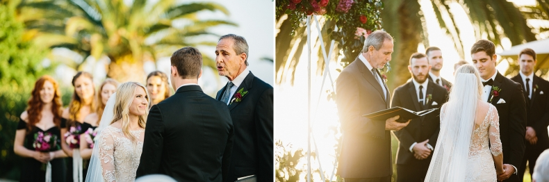 Beautiful photos of the bride and groom during the ceremony.