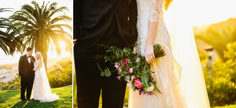 Photos of the couple during the golden hour.