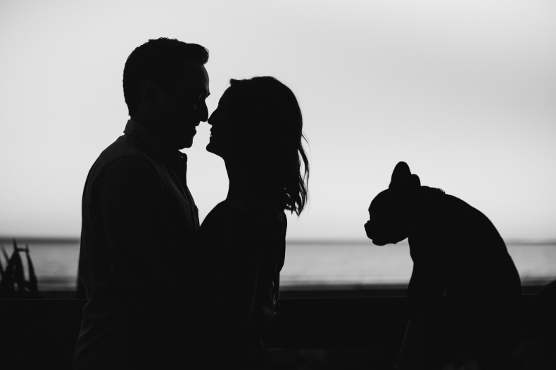 A black and white portrait of the couple with their dog.