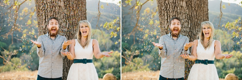 The couple throwing sprinkles.