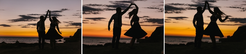 The couple dancing at the beach at sunset.