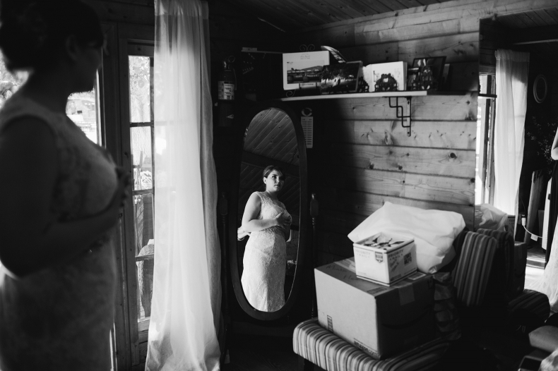 A portrait of the bride in a mirror.