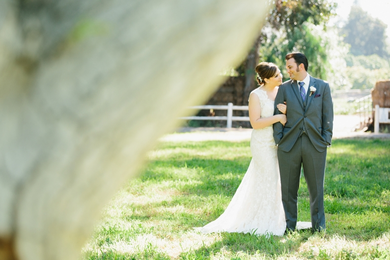 A photo of the couple by a tree.