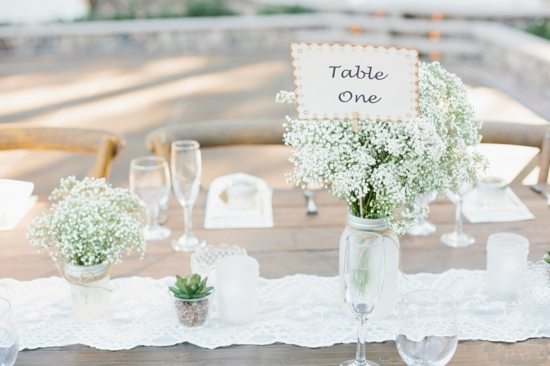 The centerpieces and table numbers.