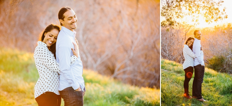 Sunset portraits of the engaged couple.