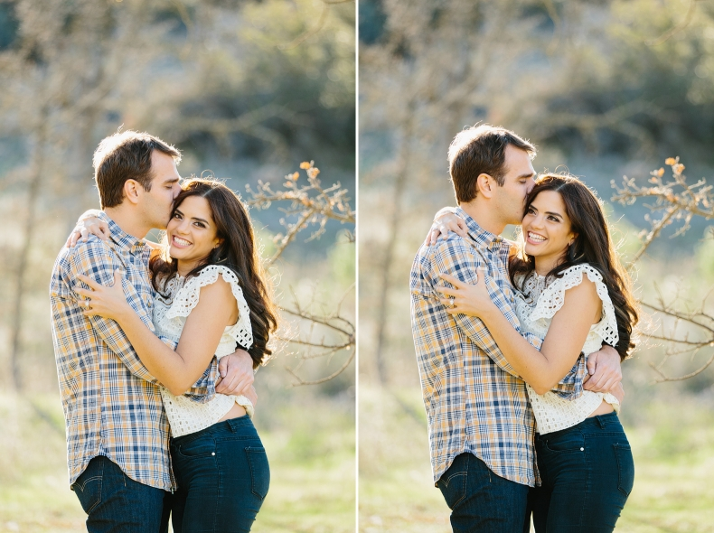 Cute photos of the couple hugging.