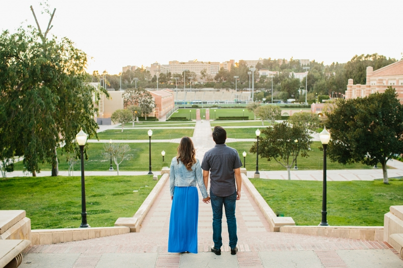 The couple looking at the campus.