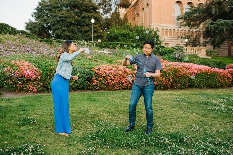 The couple brought bubbles to their session.