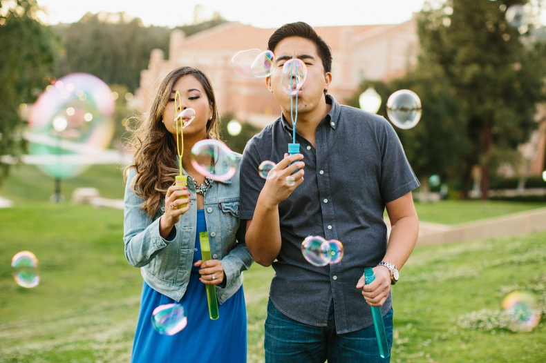 Nikki and Chad blowing more bubbles.